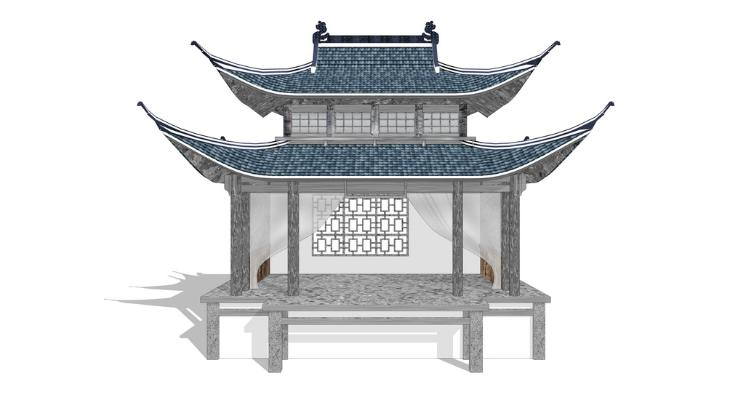 古建戏楼戏台SU模型