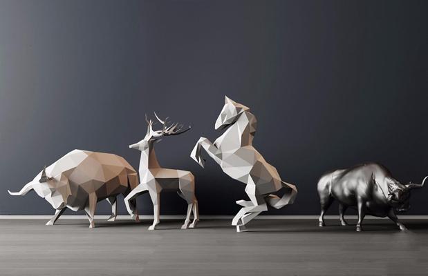 现代几何面动物摆件 现代摆件 雕塑 动物 几何体 马 牛 鹿角