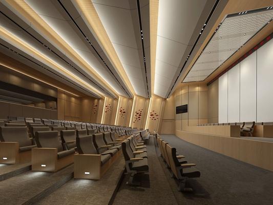 现代报告厅 吊顶 演讲台 报告台 背景墙 椅子