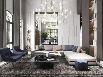 Diff Studio設計 現代輕奢客廳餐廳3d模型