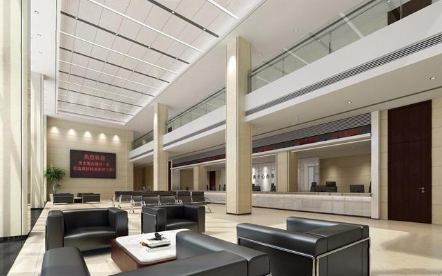 现代办公大厅 大堂 现代多人沙发 茶几 柜台