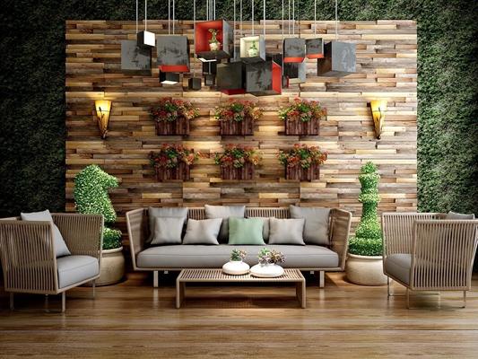 东南亚室外沙发组合 东南亚室外沙发 藤制沙发 三人沙发 茶几 墙饰 壁灯 墙壁装饰