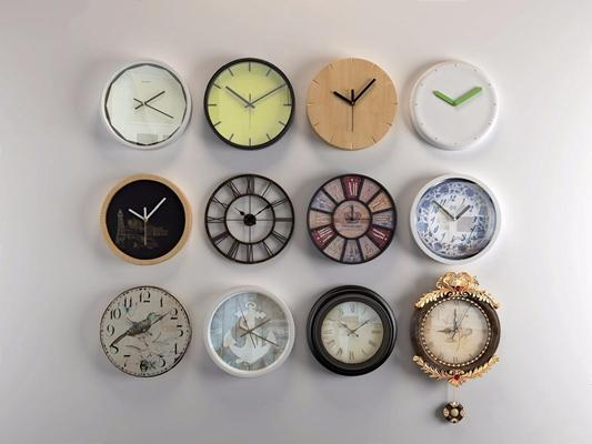 挂钟组合 现代钟表 挂钟 欧式挂钟 现代挂钟 北欧挂钟 简约挂钟 工业风挂钟