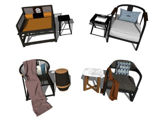 新中式单人椅子角几组合SU模型