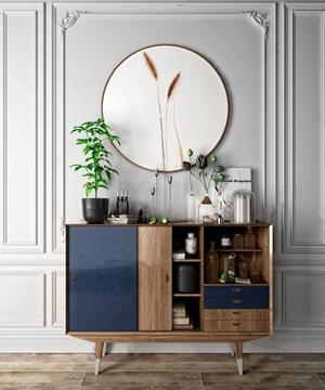 北欧餐边柜摆件组合 北欧边柜/玄关柜 餐边柜 挂画 花瓶 绿植 摆件 储物柜