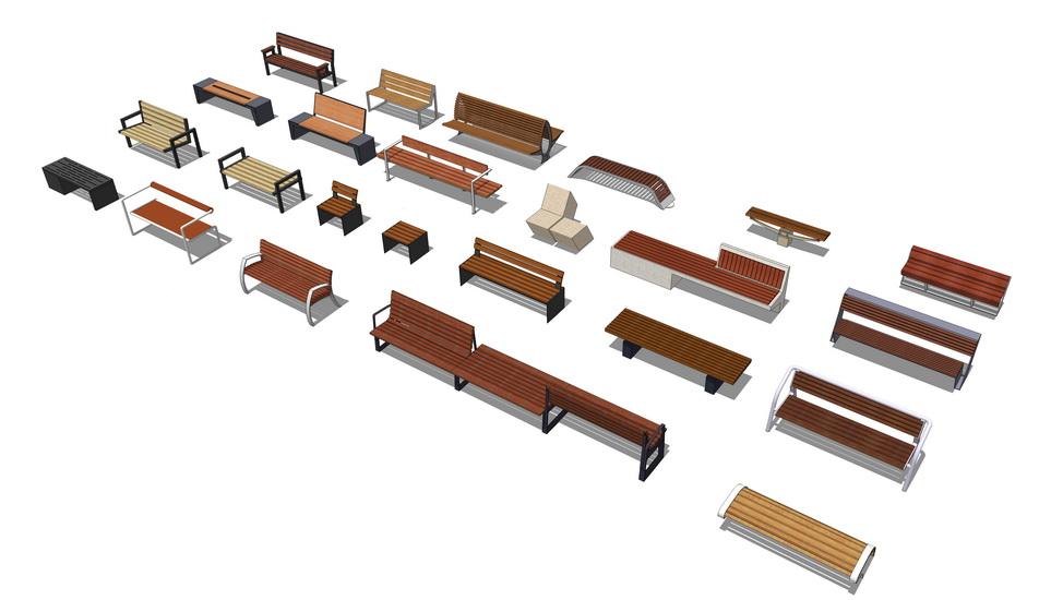 户外座椅组合SU模型