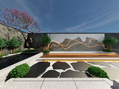 新中式庭院 新中式景观园林 庭院 树木 假山