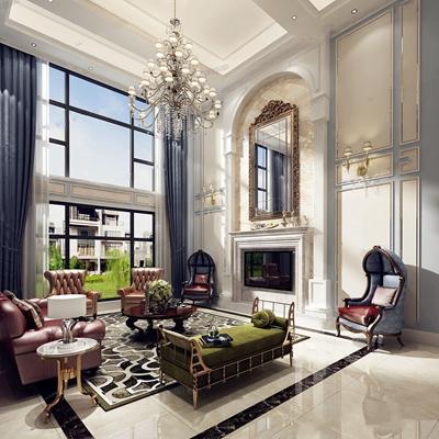 欧式别墅客厅 简欧客厅 沙发 茶几 边几 装饰镜 脚凳 吊灯 台灯 壁灯 地毯