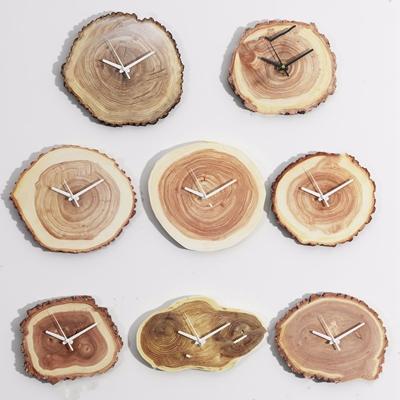 木呓 木年轮钟静音挂钟 现代钟表 挂钟 墙饰 年轮钟表 木呓