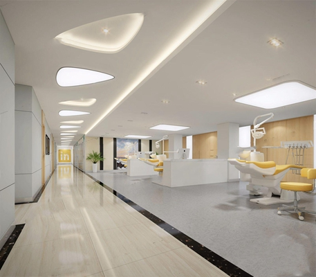 现代口腔诊所 现代医院 口腔 牙科 办公室 诊室 躺椅 办公桌椅 档案柜