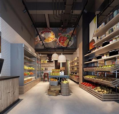工业风精品小超市 工业风商业零售 超市 收银台 货架 吊灯 冷藏柜 冰箱 门头 室外桌椅