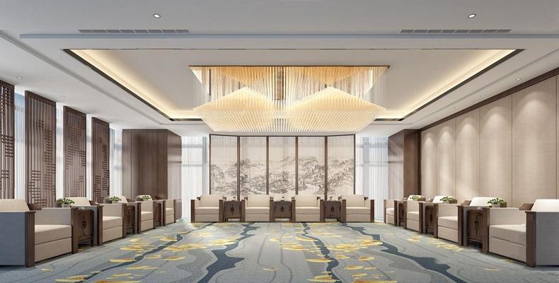 現代新中式貴賓接待室 新中式接待室 貴賓接待室 單人沙發屏風 水晶吊燈 新中式邊幾