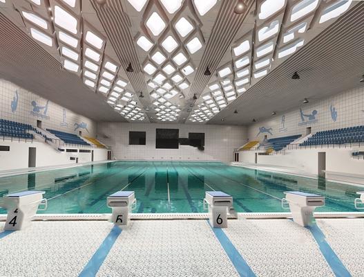 现代游泳池3D模型