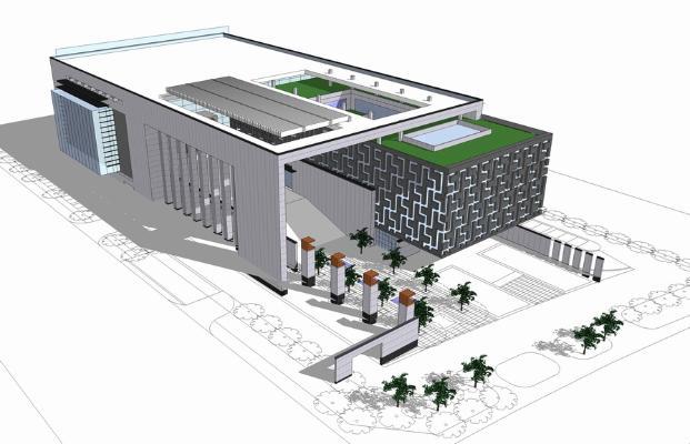 新中式图书馆SU模型