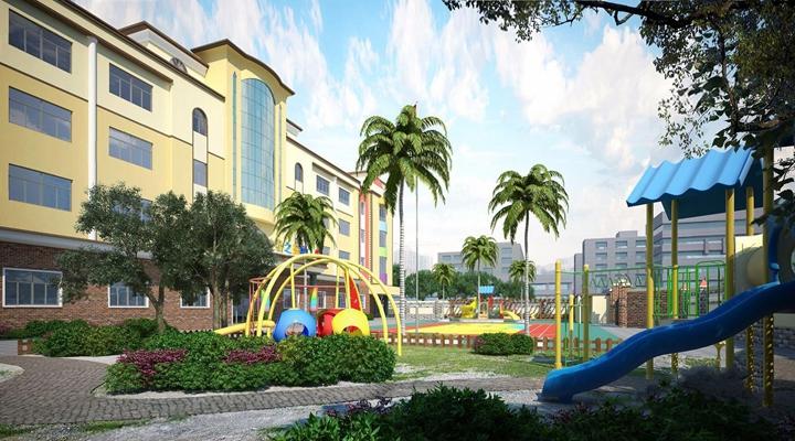 幼儿园外观 现代建筑 幼儿园 儿童滑梯 绿植 操场