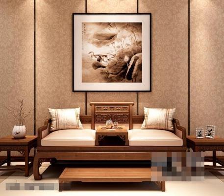 中式古典罗汉床沙发 罗汉床 双人 脚踏 角几 盆栽 挂画 古典 中式
