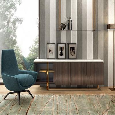 现代电视柜单椅组合 现代电视柜 单椅 摆件 相框 落地灯