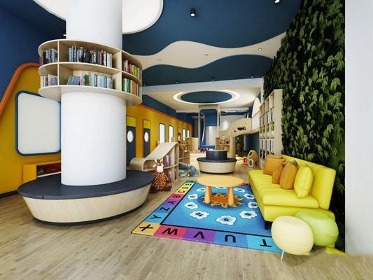 现代儿童游乐园 现代学校 儿童游乐园 多人沙发 圆形卡座 书柜 书 玩具