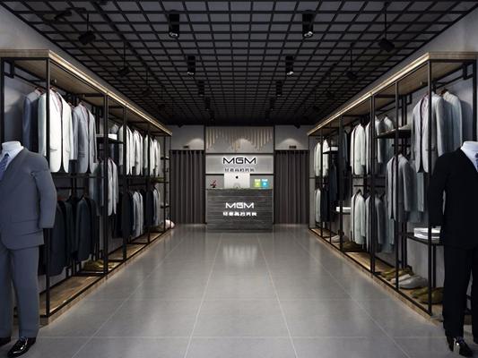 工业风男装店 工业风商业零售 服装店 铁艺装饰架 衣服 西装 吧台 收银台