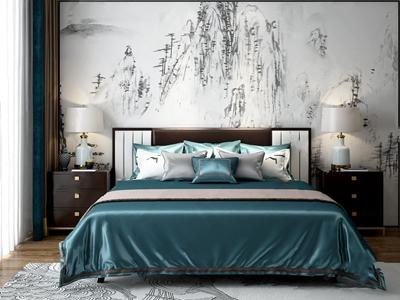 新中式双人床 新中式双人床 床头柜 台灯 饰品摆件