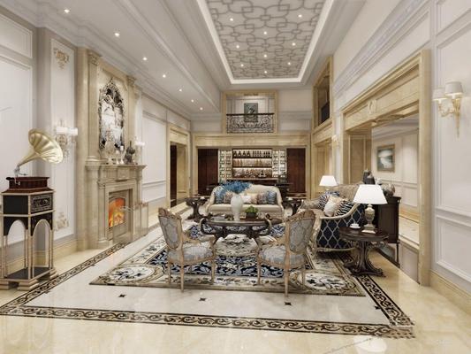 法式地下室 法式地下室 會客廳 法式雙人沙發 茶幾 邊幾 圓幾 椅子 壁爐 臺球桌 酒柜 吧臺