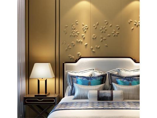 现代新中式卧室床具 新中式双人床 台灯 床头柜 抱枕 墙饰