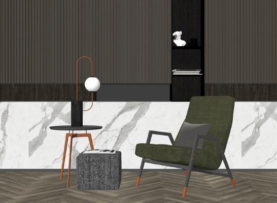 单人椅子边几组合SU模型