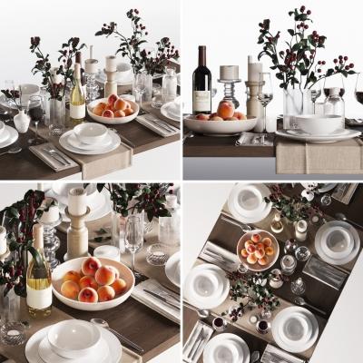 现代餐具烛台食物组合3D模型
