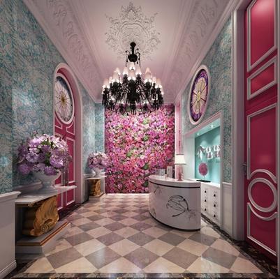 门厅植物花墙 法式接待大厅 前台 花墙 案几 花卉 吊灯 台灯