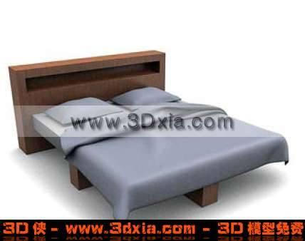 设计独特的3D双人木床模型