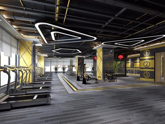 健身房器械区 健身房 器械区 跑步机 吊灯