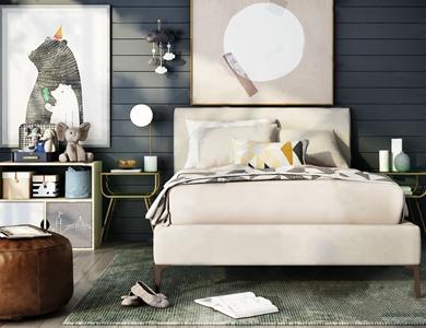 北欧床具边几床头灯组合 北欧单人床 床头柜 边柜 台灯 饰品摆件 挂画 凳子