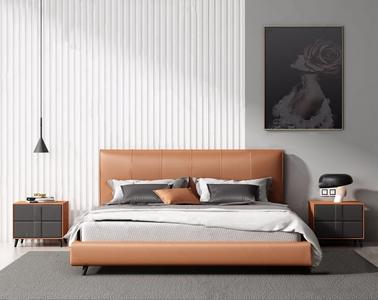 现代床具组合 现代双人床 床头柜 吊灯 台灯