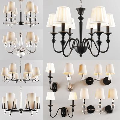 美式灯具组合 美式吊灯 单头壁灯 双头壁灯 多头吊灯 灯具组合