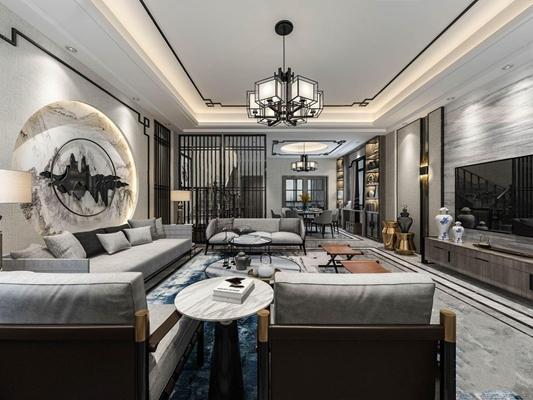 新中式客餐廳全景 新中式客廳 多人沙發 茶幾 邊幾 馬扎 電視柜 餐桌椅 吊燈 臺燈 墻飾 瓷器 飾品 擺件