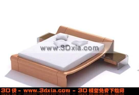 设计巧妙的3D双人木床模型下载