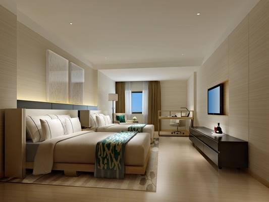 北欧白色酒店双人间 北欧白色木艺书桌椅组合 现代黑色长方形电视柜