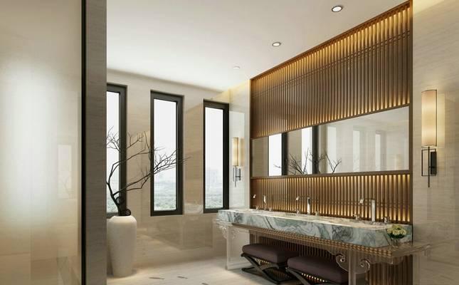 新中式家居卫生间 卫浴镜 洗面盆 新中式壁灯