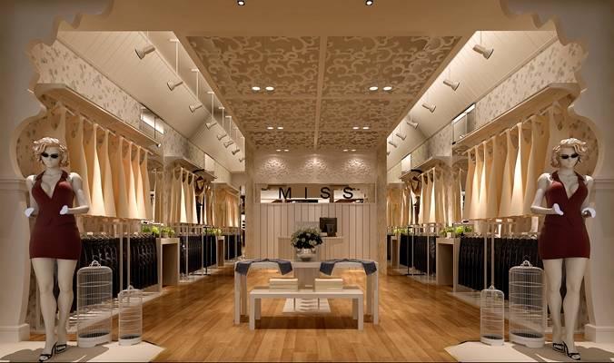 欧式简约服装专卖店 白色鸟笼 货架