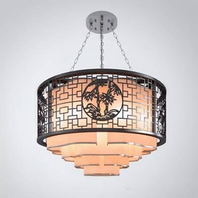 新中式原木色木艺吊灯