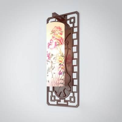 新中式原木色木艺壁灯