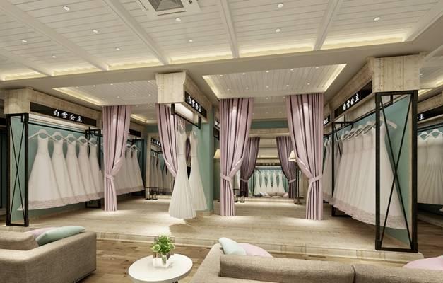 歐式簡約服裝專賣店 黑色長方形鐵藝衣架 粉色布藝窗簾
