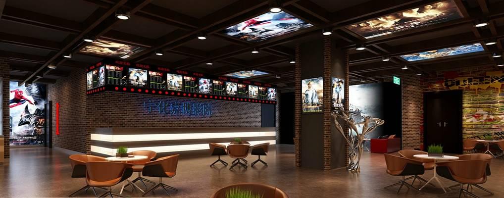现代电影院 现代棕色木艺休闲桌椅组合