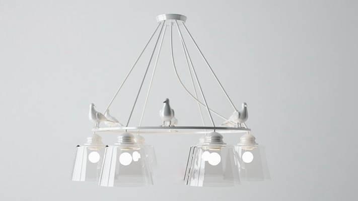北欧白色铁艺吊灯