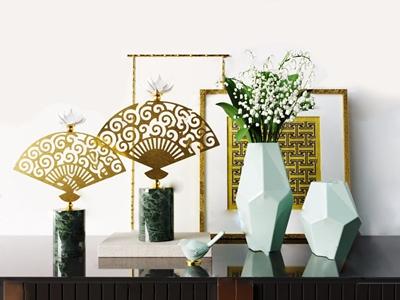 新中式家居客厅扇形摆件 新中式饰品摆件 花瓶 相框