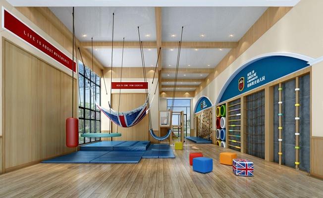 幼儿园运动馆 幼儿园运动馆 秋千 垫子 凳子 攀岩