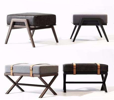 新中式凳子组合 新中式凳子 沙发凳 脚凳组合