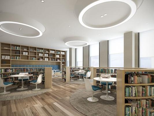 阅读室 图书室 阅读室 书架 桌椅组合