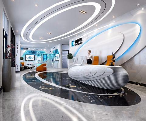 现代前台接待大厅 现代前台接待 接待大厅 吧台 休闲椅 多人沙发 显示器 电脑