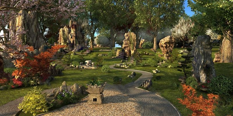 现代公园3D模型